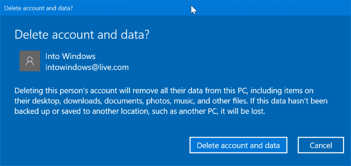delete a Microsoft account from Windows 10 pic3