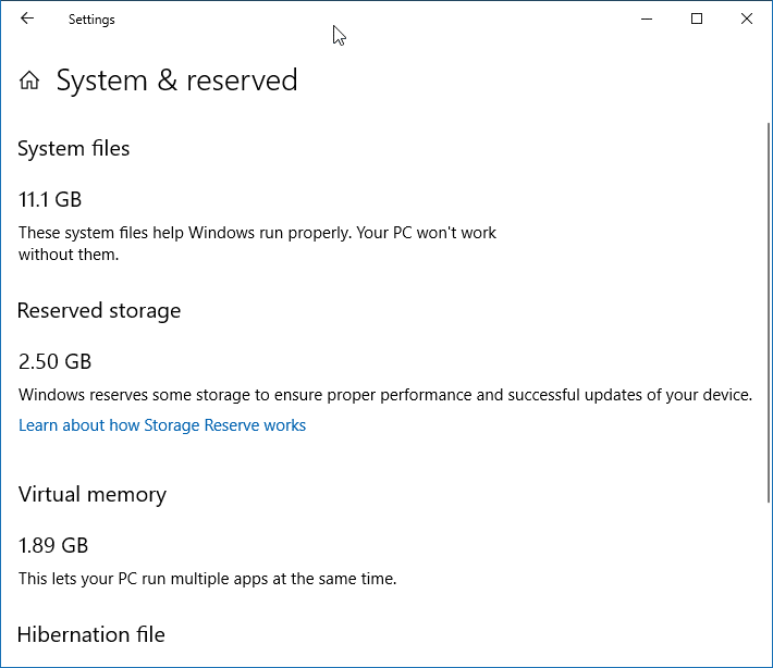 enable or disable reserved storage in Windows 10