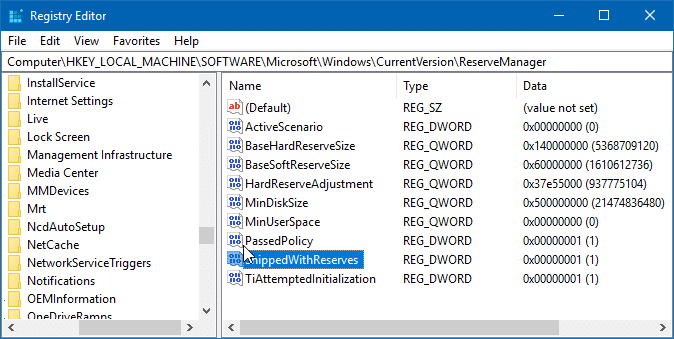 enable or disable reserved storage in windows 10 pic1