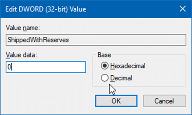 enable or disable reserved storage in windows 10 pic2