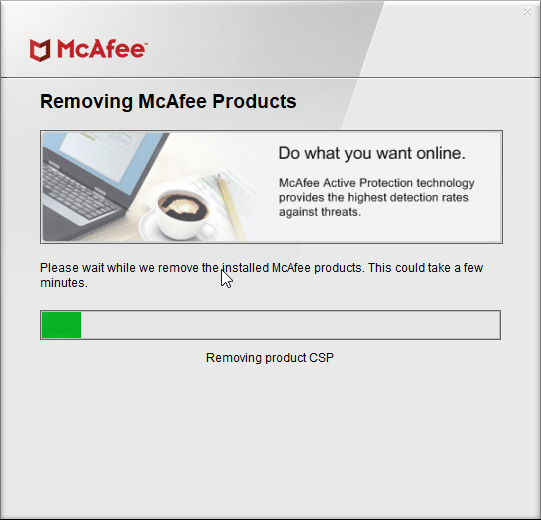 mcafee consumer product removal tool for Windows 10 pic3