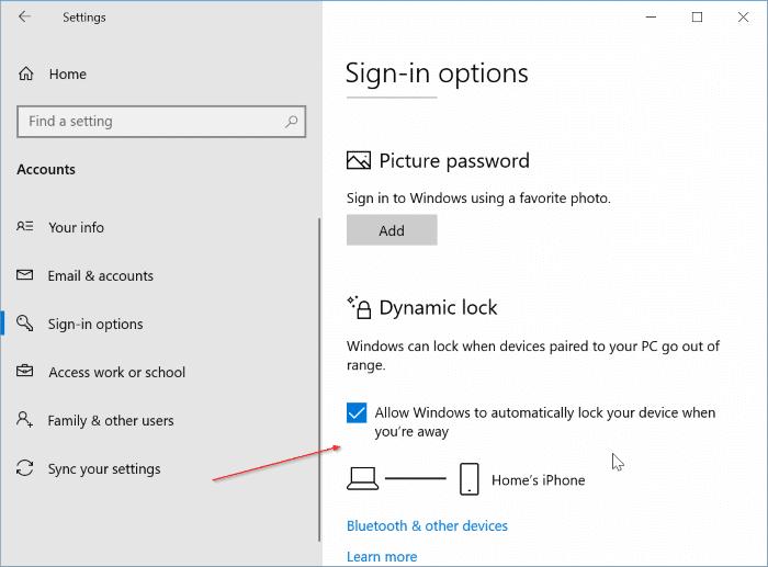 set up dynamic lock in Windows 10 pic9.1
