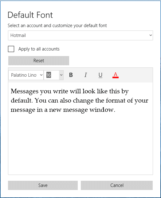 change the default font in Windows 10 Mail