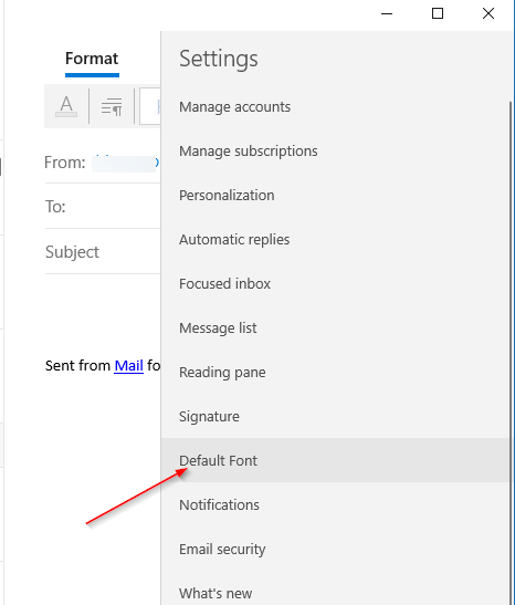 change the default font in Mail app in Windows 10 pic3