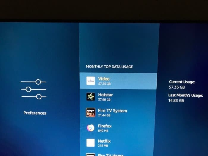 check the data usage on Amazon Fire TV Stick