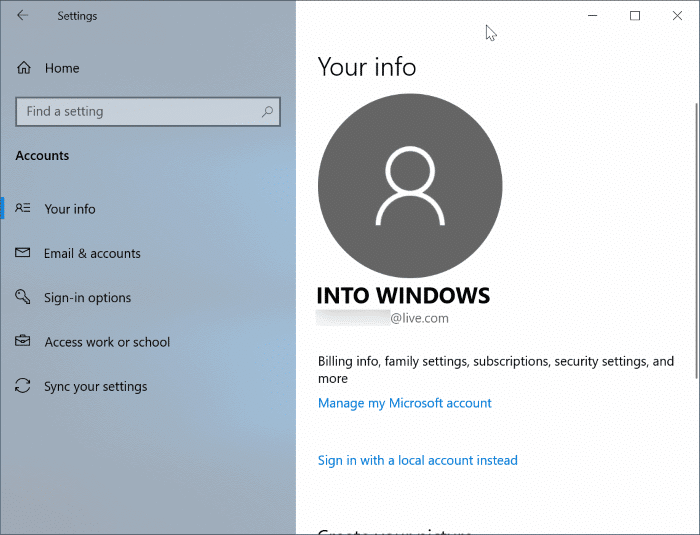 switch between local and microsoft accounts in Windows 10
