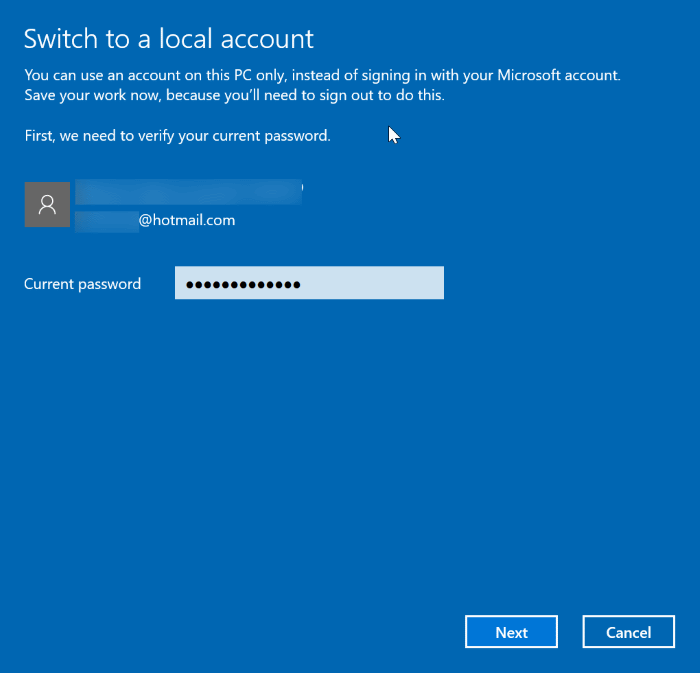 switch between local and Microsoft accounts in Windows 10 pic2