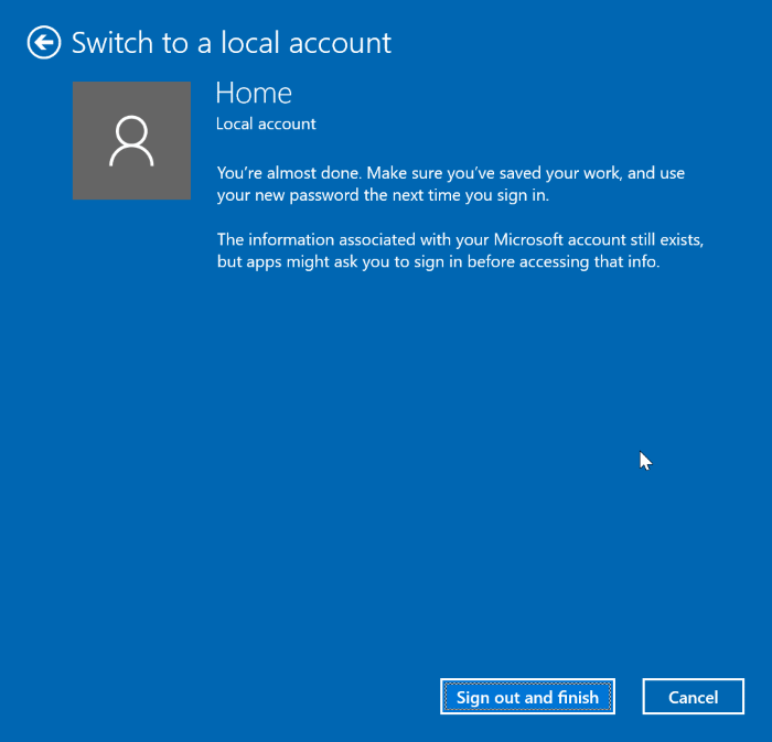 switch between local and Microsoft accounts in Windows 10 pic4