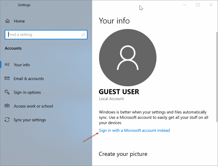 switch between local and Microsoft accounts in Windows 10 pic5