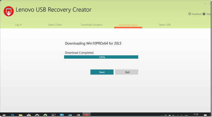 Create lenovo USB recovery drive for Windows 10