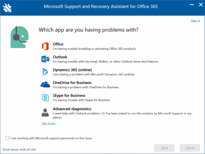 Office 365 2019 2016 activation troubleshooter pic3