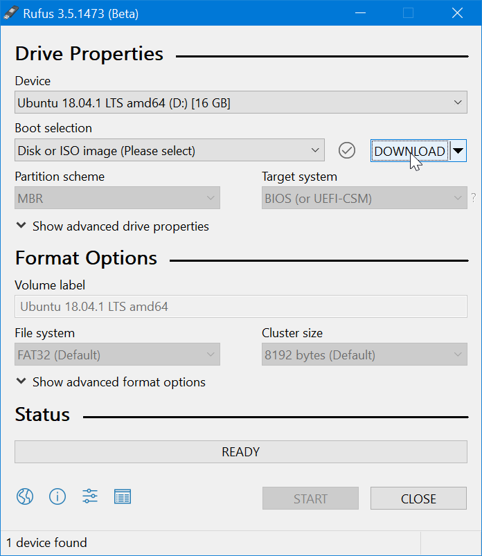 Use Rufus to download Windows 10 ISO