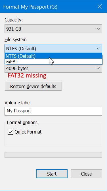 format external USB drive to FAT32 in Windows 10 pic001