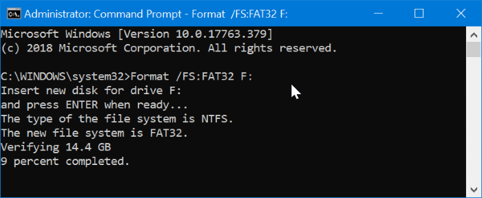 format 32GB USB drives to FAT32 in Windows 10