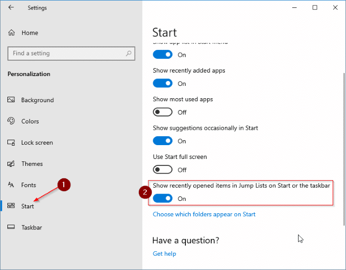 quick access not showing recent files in Windows 10 pic3