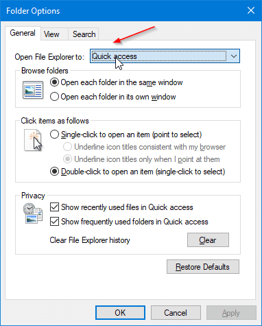 quick access not showing recent files in Windows 10 pic4