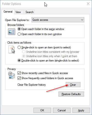 quick access not showing recent files in Windows 10 pic5