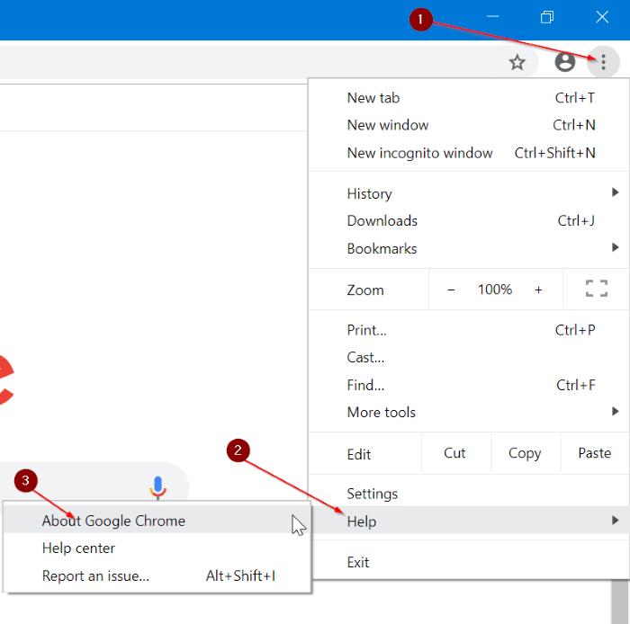 update Google Chrome in Windows 10 pic1