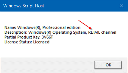 Check if Windows 10 license type is retail, oem or volume pic3