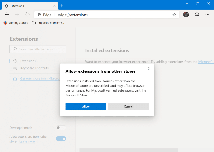 Install Chrome extensions on Microsoft Edge pic2