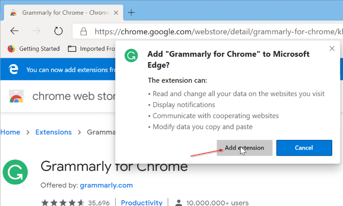 Install Chrome extensions on Microsoft Edge pic5