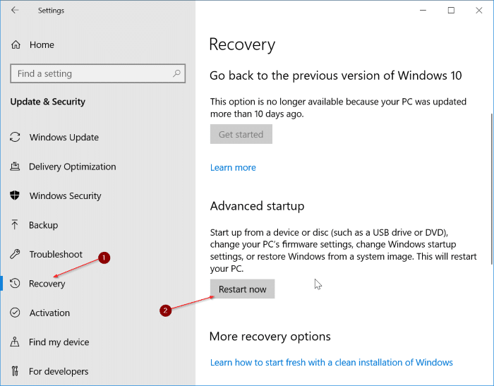 access uefi firmware settings in Windows 10 pic1