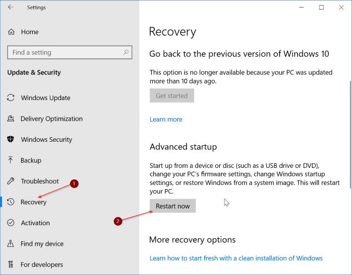 access uefi firmware settings in Windows 10 pic1