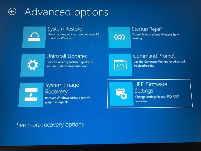 access uefi firmware settings in Windows 10 pic7