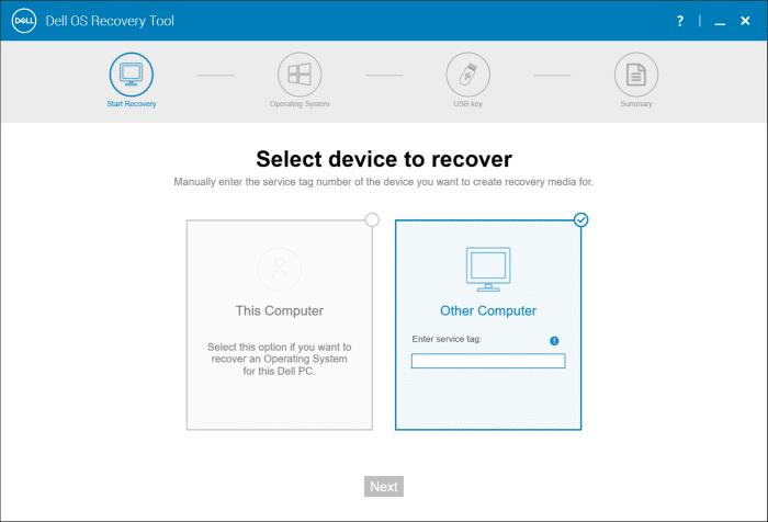 create dell Windows 10 usb recovery media pic3