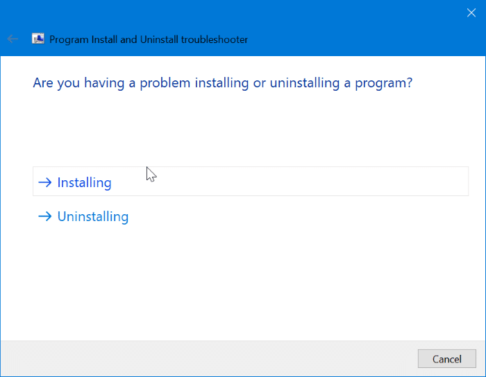 fix progarm install and uninstall issues on Windows 10 pic1