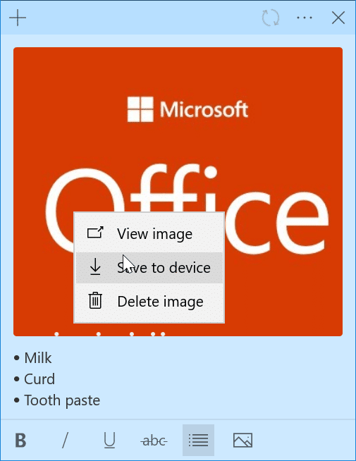 Add pictures to Sticky Notes in Windows 10 pic3
