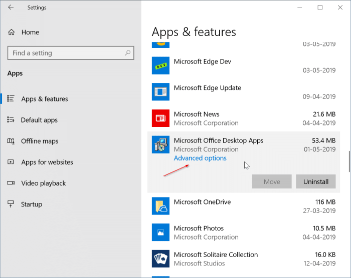 Uninstall Individual office 365 apps from Windows 10 pic1
