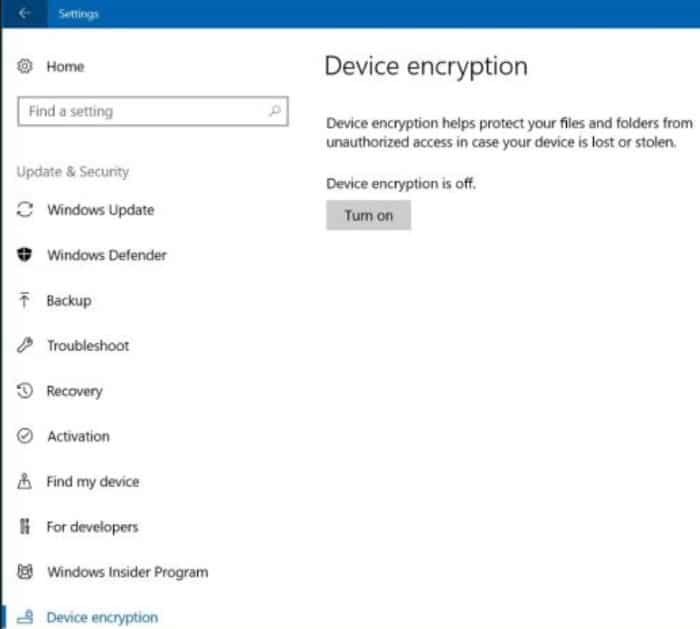 turn on device encryption in Windows 10 home