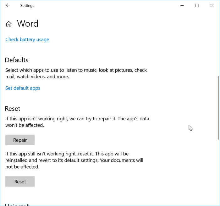 reset and repair individual office 365 apps