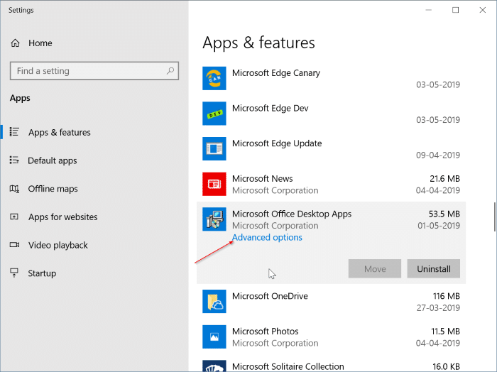 reset and repair Office 365 apps in Windows 10 pic2