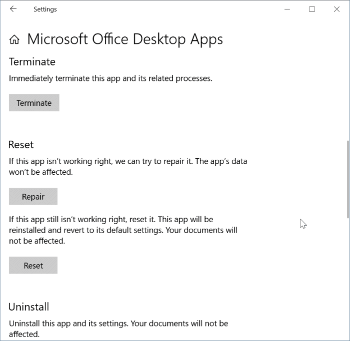 reset and repair Office 365 apps in Windows 10 pic3