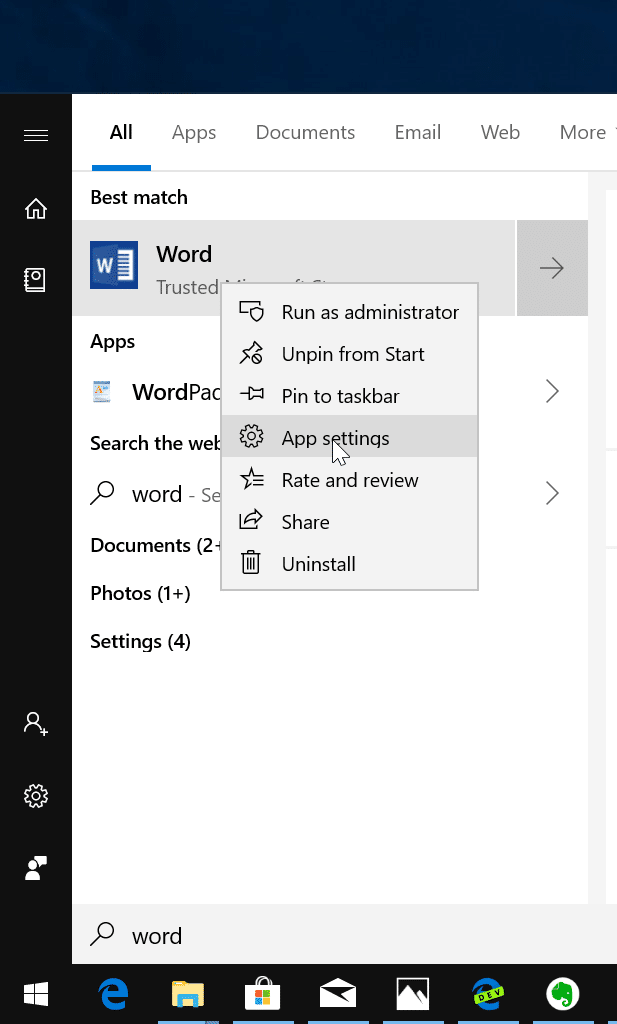 reset and repair Office 365 apps in Windows 10