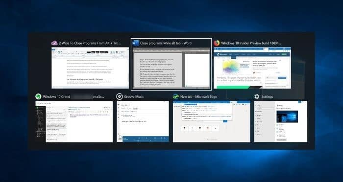 ways to close programs from Alt Tab screen in Windows 10