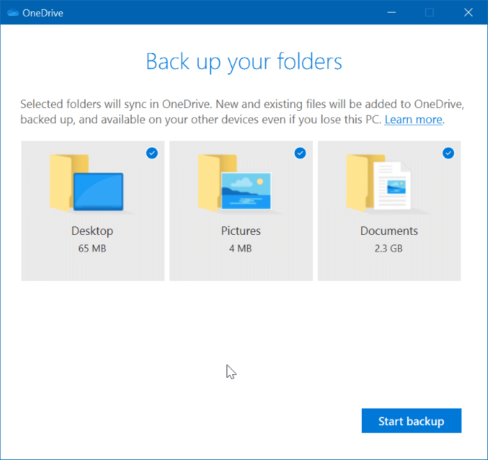 automatically backup documents, desktop and pictures to OneDrive pic3