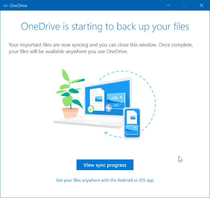 backup documents, desktop, pictures to onedrive