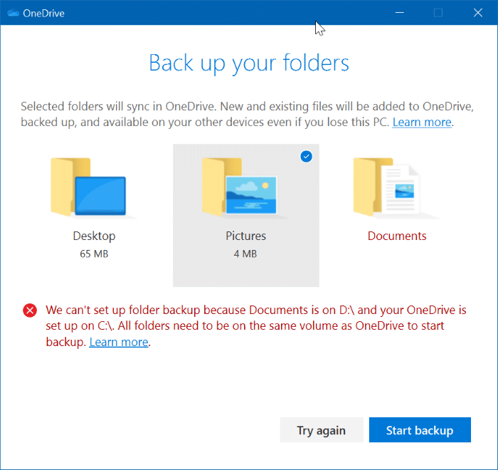 backup important folders to onedrive