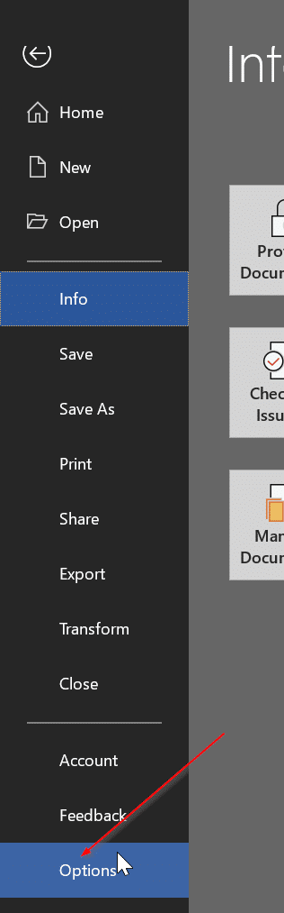 change Office 365 default saving location pic01