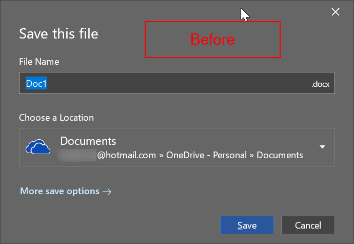 change Office 365 default saving location pic1
