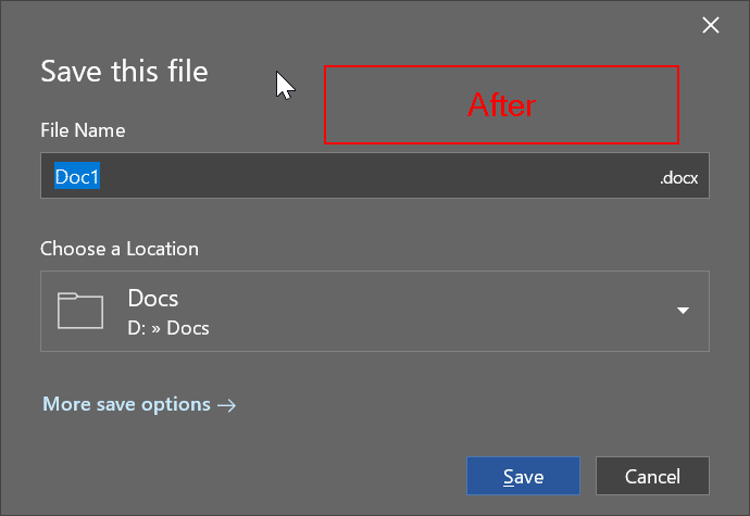change Office 365 default saving location pic2