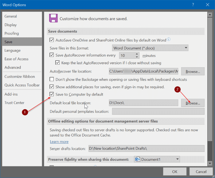 change Office 365 default saving location pic4