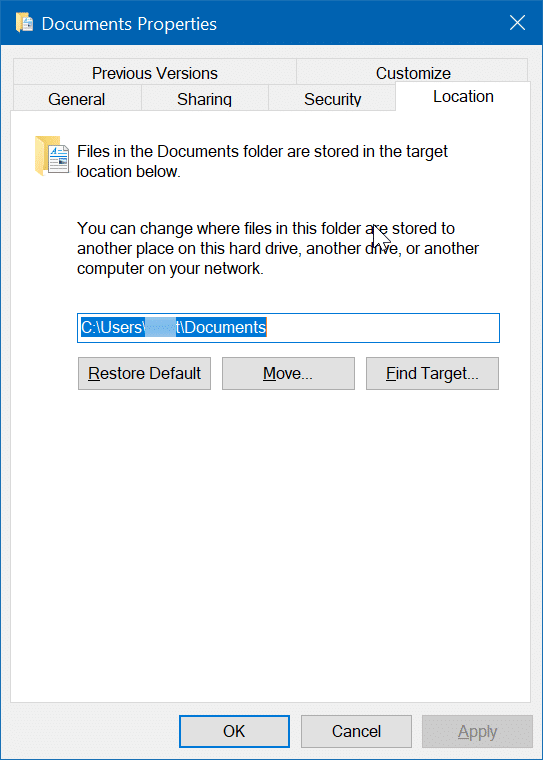 change scanned documents location in Windows 10 pic02