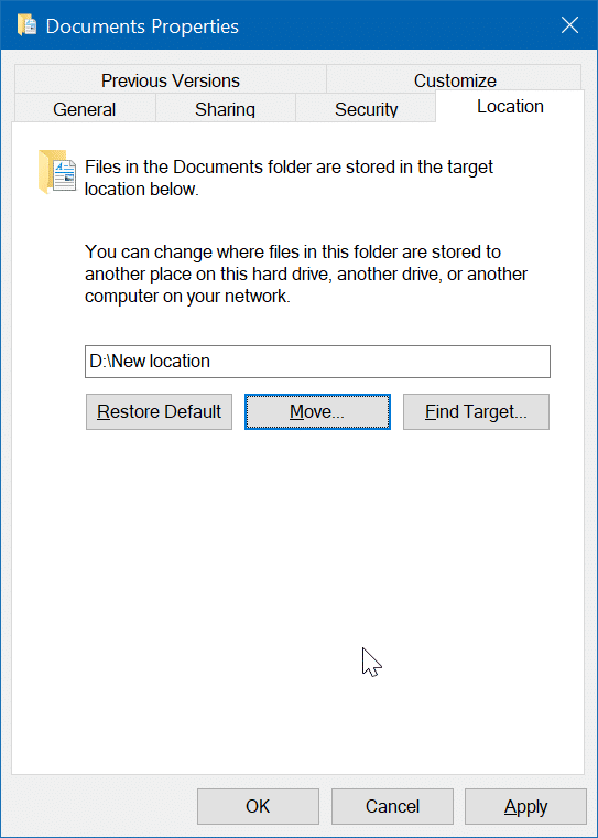 change scanned documents location in Windows 10