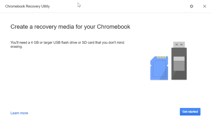 create google chrome recovery drive on Windows 10 pic3