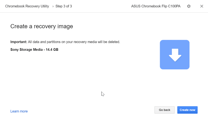create google chrome recovery drive on Windows 10 pic7
