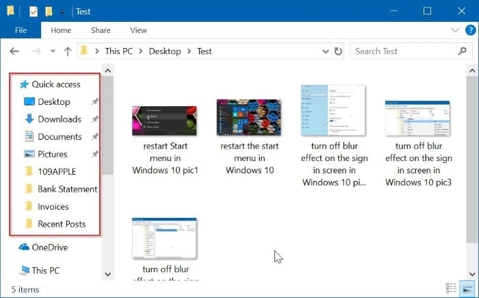 remove quick access from Windows 10 navigation pane pic02